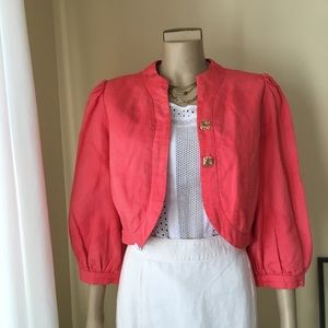 """ANTHRO MADCHEN Coral """"Melon Sipper"""" Crop Jacket, M"""